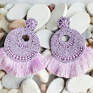 Lilac Beaded Tassel Earrings